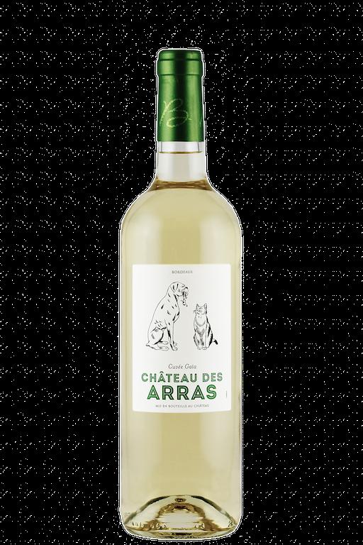 photo d'une bouteille de vin de Bordeaux blanc avec une étiquette comprenant un chien et un chat
